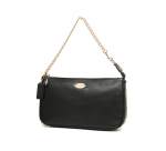 COACH 53340 LARGE WRISTLET 19 IN PEBBLE LEATHER - BLACK