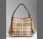 BURBERRY 38964391 SMALL HAYMARKET CHECK TOTE BAG - Gold