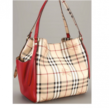 6c2dcb34e39 Burberry Small Haymarket Panels Canterbury Tote - Red - Classic Luxury  Handbags