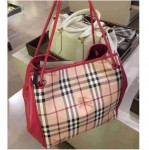 BURBERRY SMALL HAYMARKET KNOTS CHECK TOTE BAG - PINK