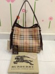 BURBERRY 39198691 SMALL HAYMARKET CHECK TOTE BAG - DARK CHOCOLATE