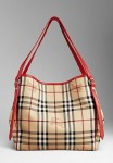 BURBERRY 37993561 SMALL HAYMARKET CHECK TOTE BAG - Cadmium Red