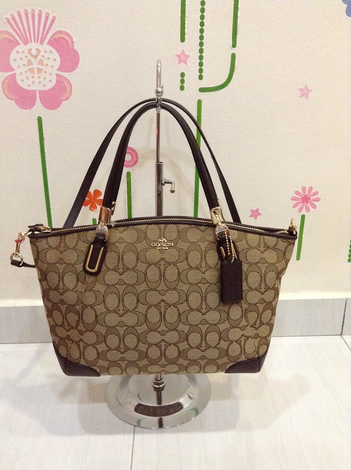 5a0be6f586a2b5 Coach 36181 Outline Signature Small Kelsey Satchel - Brown - Classic ...