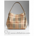 BURBERRY 39169321 SMALL HAYMARKET CHECK TOTE BAG - LIGHT GOLD