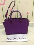 MK Michael Kors Saffiano Leather Large Satchel - Violet