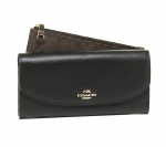 COACH 52628 POP SLIM ENVELOPE IN CROSSGRAIN LEATHER - BLACK