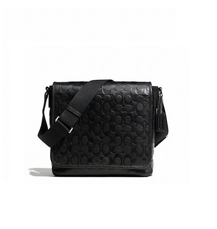 e696650ea61 COACH 71172 HERITAGE WEB LEATHER EMBOSSED C MAP BAG - BLACK ...
