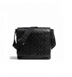 COACH 71172 HERITAGE WEB LEATHER EMBOSSED C MAP BAG - BLACK