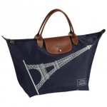 E03 Longchamp Eiffel Tower - Short handle Navy Blue