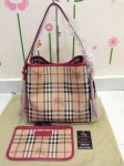 BURBERRY 39198691 SMALL HAYMARKET CHECK TOTE BAG - PINK AZELEA