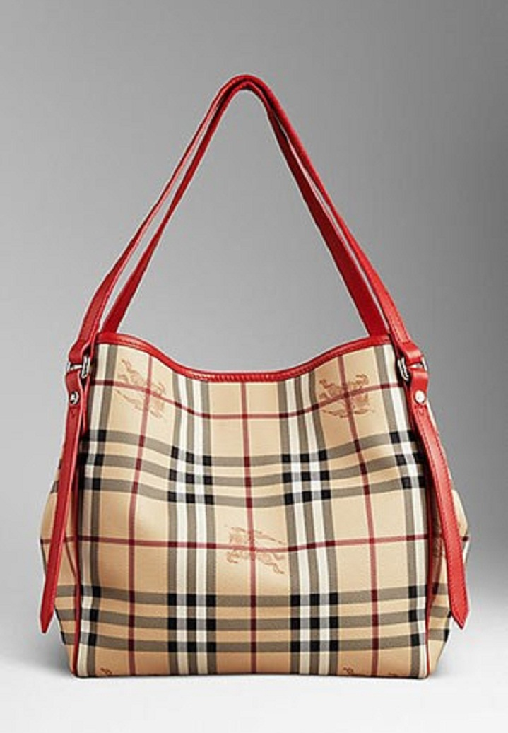 29d93bee7ae BURBERRY 37993561 SMALL HAYMARKET CHECK TOTE BAG - Cadmium Red ...